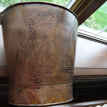 ENGLISH COPPER ENGRAVED PAIL 19TH CENTURY BARN FIND