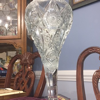 Heavy thick cut glass vase - Art Glass