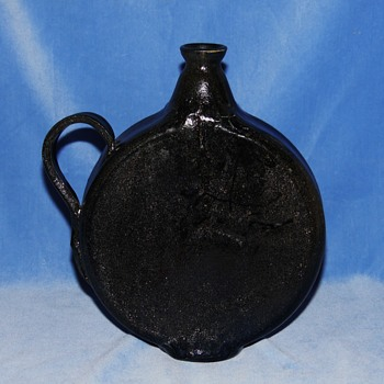 Unidentifiable Flat Sided Black Glazed Flask Urn Ewer Jug??? - Signed but Illegible - Pottery
