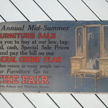 Pre 1920's Furniture Store Cardboard Trolley Car Advertisement Sign - Advertising