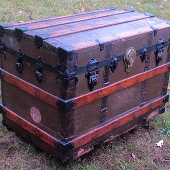 1880's    Canvas / Cast Iron / Roll Top Trunk  - Furniture