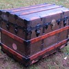 1880's    Canvas / Cast Iron / Roll Top Trunk