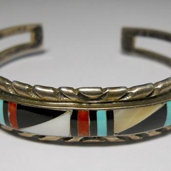 Sterling Cuf bracelet with stone inlaid - Fine Jewelry