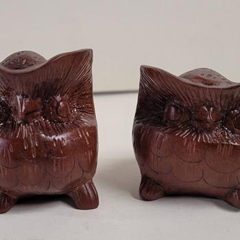 Small Wood Carved Owls - Folk Art