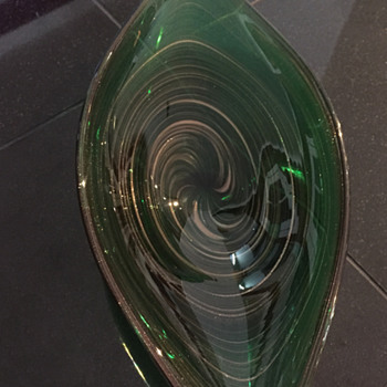 Emerald Green and Gold Aventurine Swirl Bowl - Art Glass