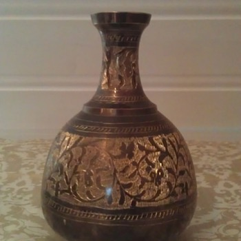 Vintage Brass Enamel Vase - Asian