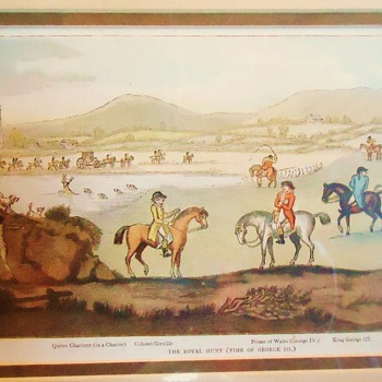 A Hunting We Will Go!  With King George 3rd!  Print from thrift store $3.50