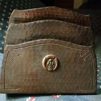 Vintage Hammered Copper Letter Holder - Arts and Crafts