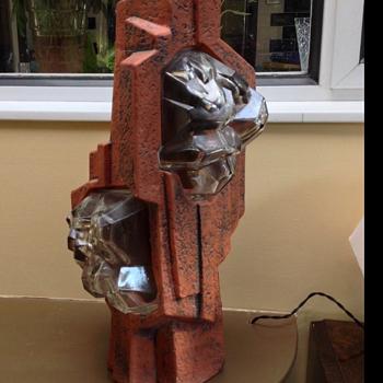 Retro earthenware floor/table lamp. Unknown maker - Lamps