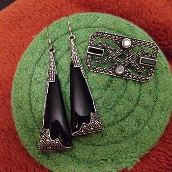 Sterling Black Onyx and Marcasite Earrings and Pin - Art Deco