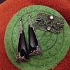 Sterling Black Onyx and Marcasite Earrings and Pin