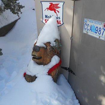 Chainsaw Art Bears and Gnomes and Snow - Folk Art
