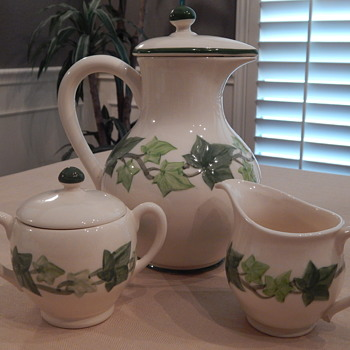 Franciscan Ivy Coffee Pot, Sugar & Creamer - China and Dinnerware