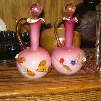 Applied Floral Art Glass Cruets  - Art Glass