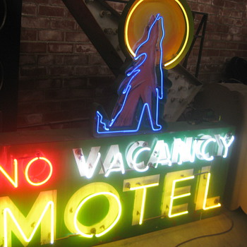 Vintage 1970's ( NO ) VACANCY MOTEL Large Antique Multi-colored Neon Sign - Signs