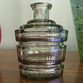Looking For Info. On This MOSER-Joseph Hoffman? CUT GLASS Charcoal Colored Bottle - Glassware