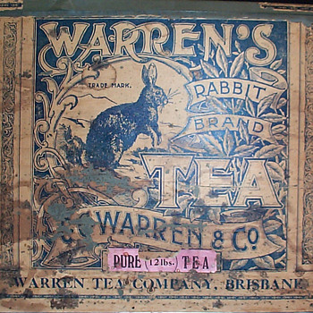 Warren's Rabbit Brand tea tin - Advertising