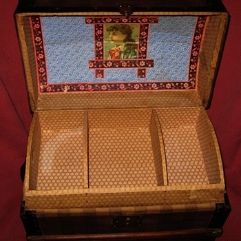 Interior of Unique Antique Doll (Toy) Trunk - Furniture