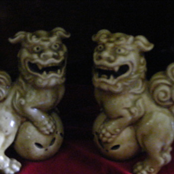 two foo dogs lions glazed pottery marked - Asian
