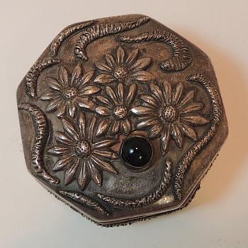 Sterling Silver w/ Stone - Octogonal Trinket Box - Silver