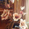 Repost  no lookers when I joined  any info. app.  porcelain/ceramic flowers brass leaves and stems!