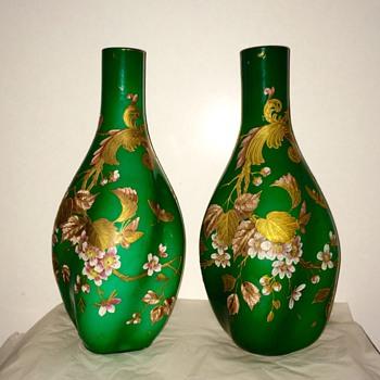 """Harrach Enamelled Gilt Green Lobed Cased Pair Vases 17.25"""" - Art Glass"""