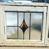 Antique Stain Glass Window in Original Frame