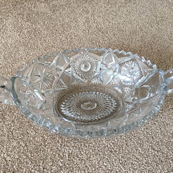 Vintage Cut Glass Oblong Bowl - Glassware