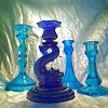 Mix blue glass candlesticks