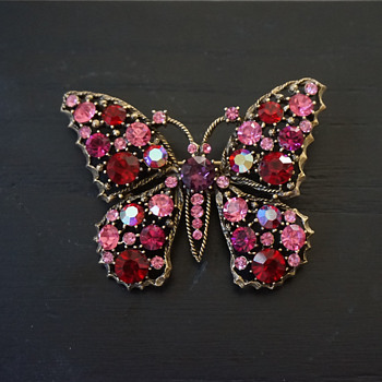 Pink Rhinestone Butterfly Brooch - Costume Jewelry