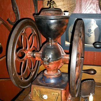 (3) dbl. wheeled Enterprise coffee grinders & (1) C.I. crank grinder - Kitchen