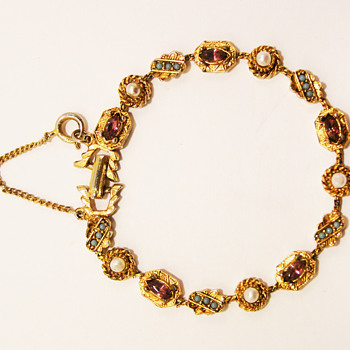 Vintage Amethyst, Turquoise and Pearl Bracelet