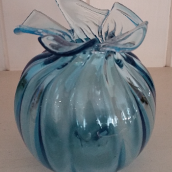 James Dodson Hand blown Blue Glass bud vase