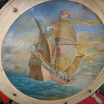 Pastel Sailing Ship Painting Signed H. L. Wood or Weed 1943 - Fine Art