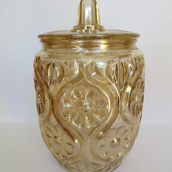 Carnival Glass Illinois Daisy Biscuit Jar - Rindskopf ? - Glassware