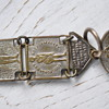 """whimsical antique panel watch fob chain with """"toasts"""""""