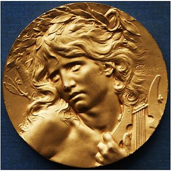 """1900 Paris Exhibition """"Orpheus at the Entrance to the Underworld"""" Medal - Art Nouveau"""