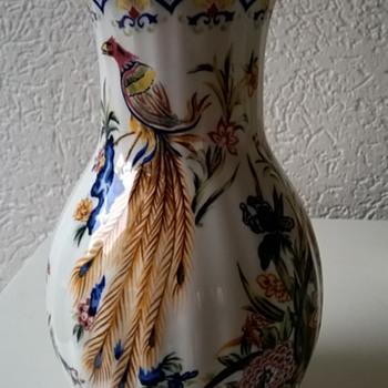 Beautiful Old Ceramic Bird of Paradise Vase - Pottery
