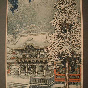 Late 1920's Takahashi Shotei japanese woodblock Yomei gate - Asian