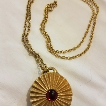 Vintage Red and Gold Tone Pendant Necklace stamped Houbigant (perfume name) - Costume Jewelry
