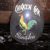 "Chicken Cock Bourbon Whiskey Decanter  Glass Whisky back bar jug Enamel on pinced in ""bottle"""
