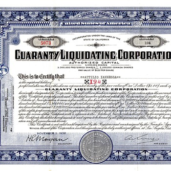 Guaranty Liquidating Corporation Preferred 1932 Stock ( is it of any value still)