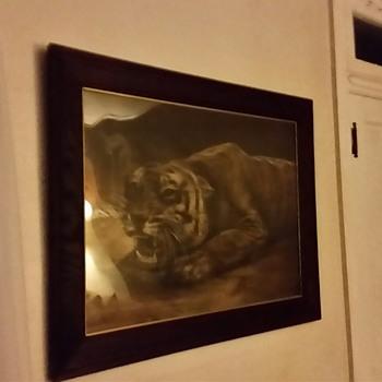 Stalking Tiger in wooden frame