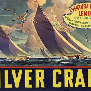 One off Ventura County vintage lemon crate label Silver Craft sailing