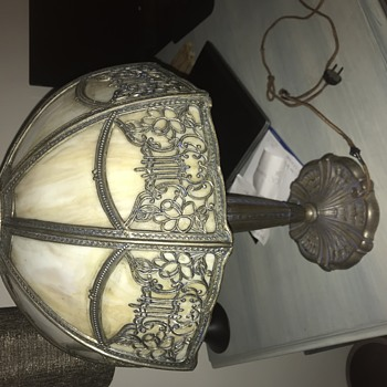 Filigree slag glass lamp - Art Nouveau