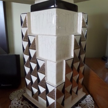 Art Deco Charles Harva Craquelle glaze lamp base