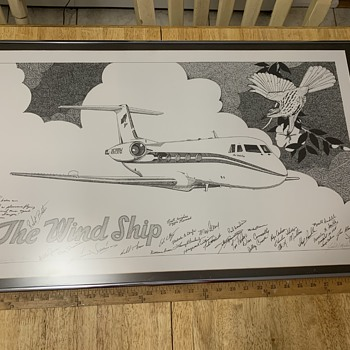 The wind ship plane autographed picture - Advertising