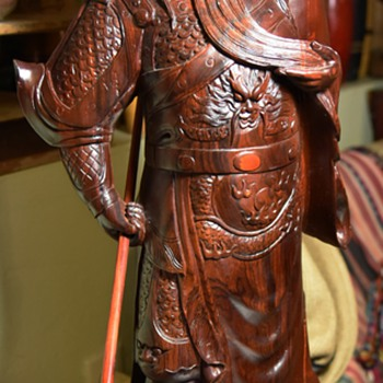Very Large, Intricately Carved, Rosewood Statue of a Samurai[?] - Asian