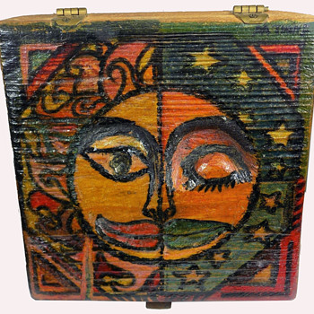 Vintage OOAK Hippie Folk Art Stash Box from Pennsylvania  - Folk Art