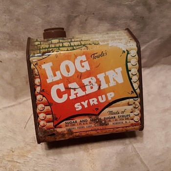 Towle's Log Cabin Syrup Tin Blacksmith 1950s - Advertising